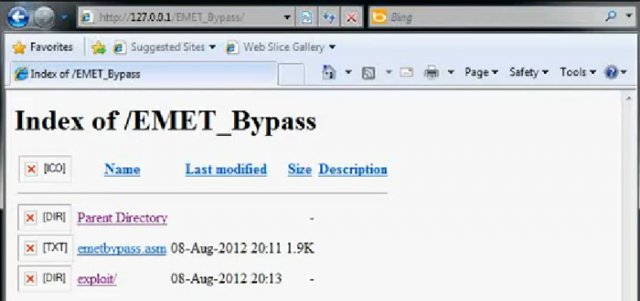 A computer's Internet Explorer screen just prior to it being exploited by an attack that bypasses new protection baked into EMET. Real-world attacks would conceal this behind-the-scene view.