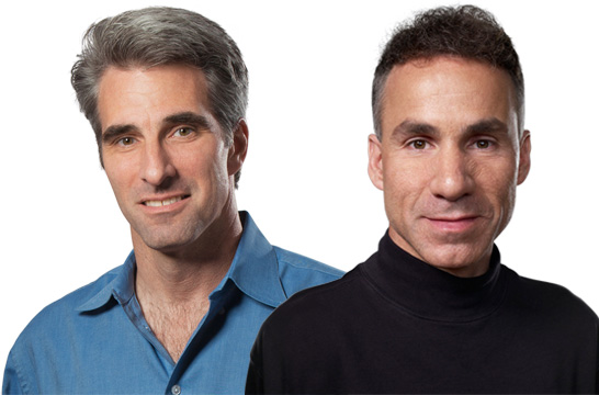 Apple SVP of Mac Software Engineering Craig Federighi (left), and Apple SVP of Hardware Engineering Dan Riccio (right).