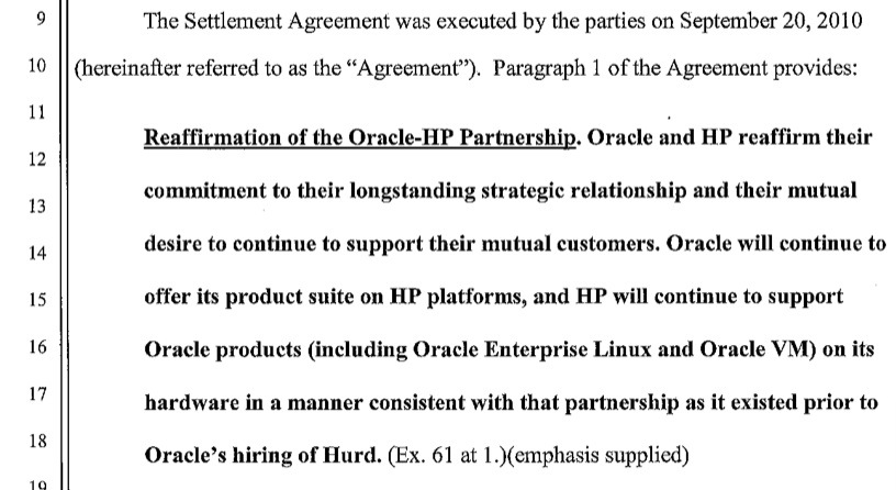 The text of the agreement between Oracle and HP, as reproduced in Judge James Kleinberg's ruling issued today.