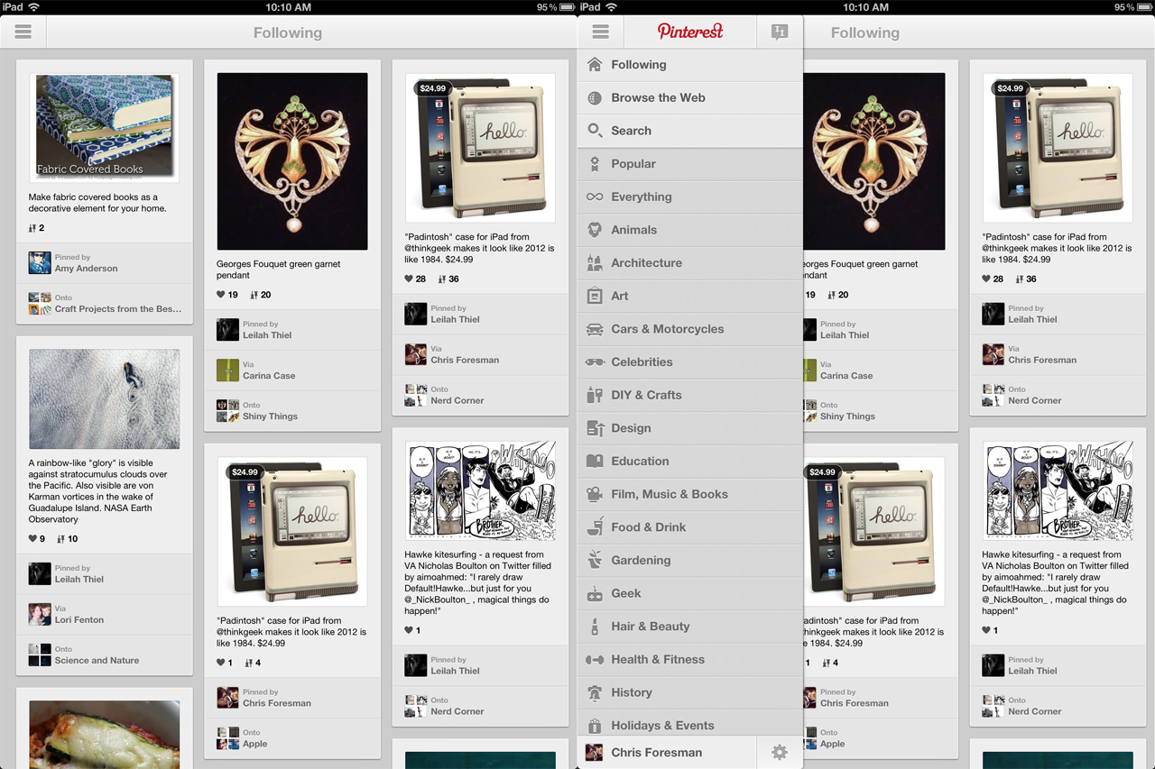 The iPad version hides most of its functionality in a slide-in menu.