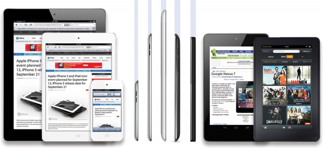 A mock-up of a potential iPad mini design compared to an iPad, iPhone, Nexus 7, and Kindle Fire.