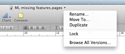 Locking a document in Pages