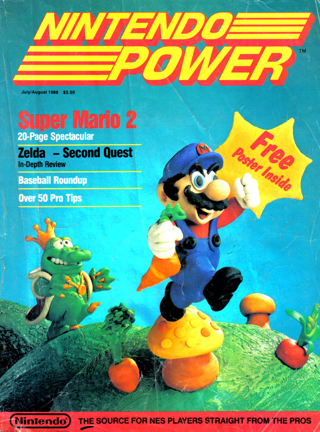 The very first cover of <i>Nintendo Power</i>, from the summer of 1988