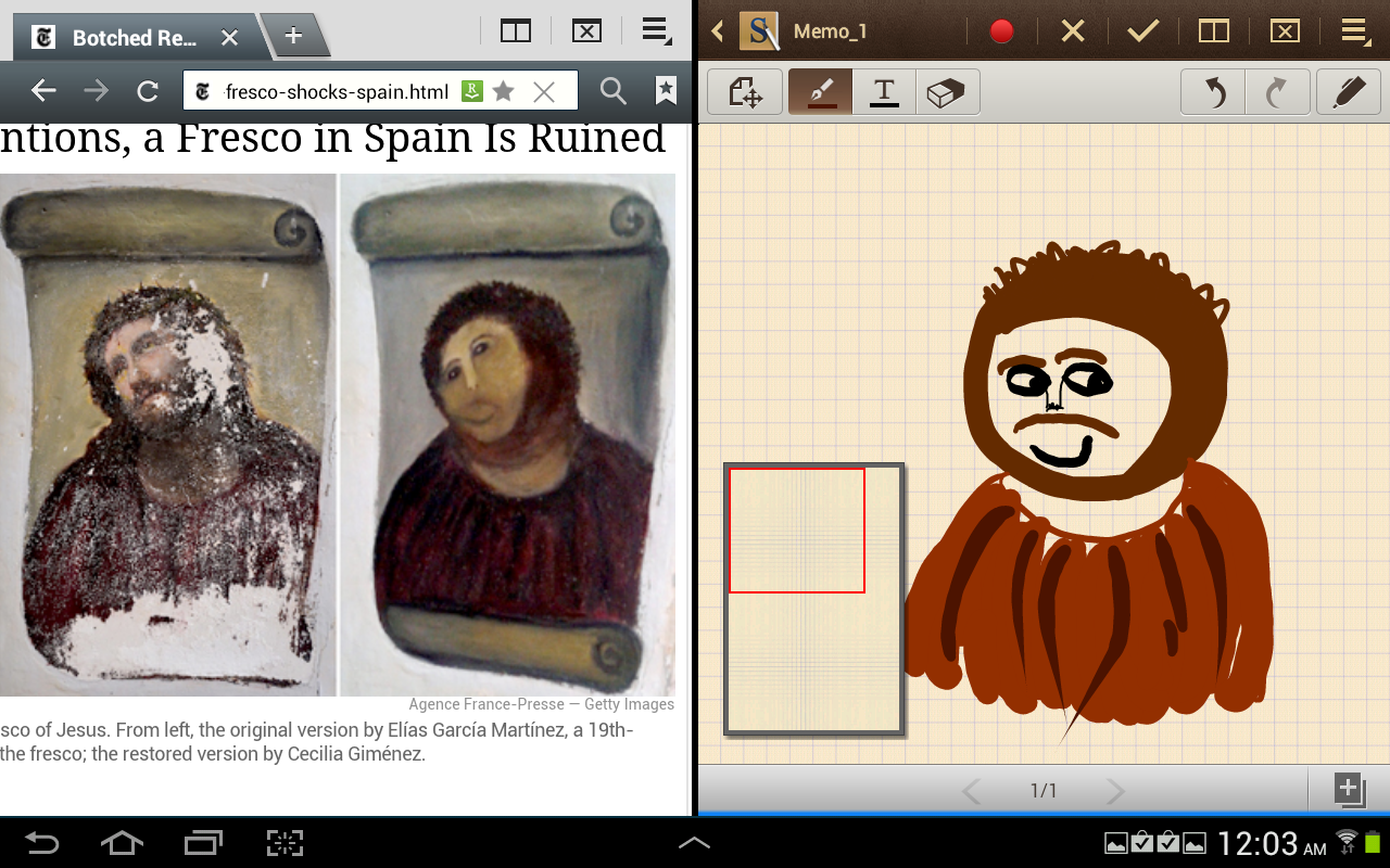 Multiscreen mode is limited to just a few of the built-in apps, but it does make it easier to restore Spanish frescoes.