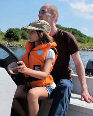 Odgaard ostensibly instructs his niece on the finer points of software freedom on a recent holiday.