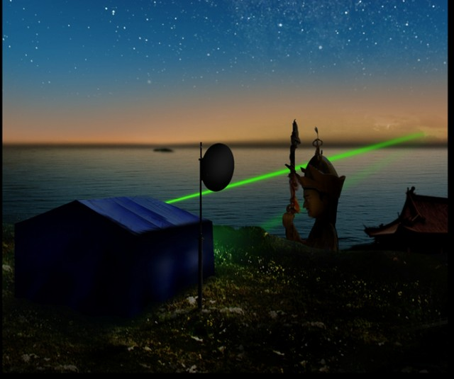Photo illustration of the beacon laser, used to track an entangled photon signal across Qinghai Lake. The statue is Padmasambhava at the Lotus Temple at Gangcha.
