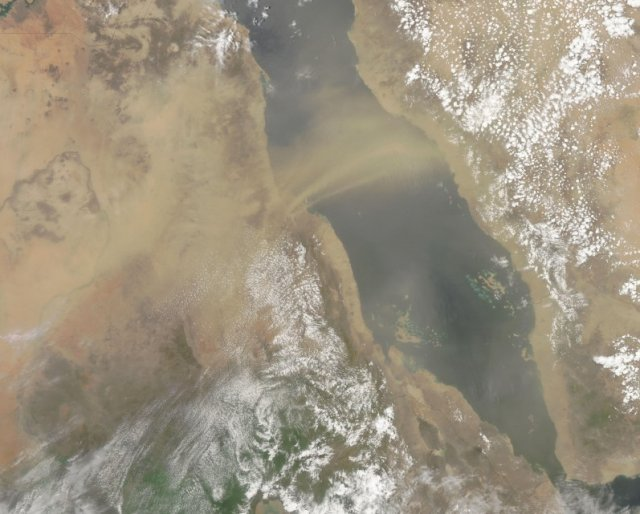 Dust plumes blowing across the Red Sea from the coast of Sudan.