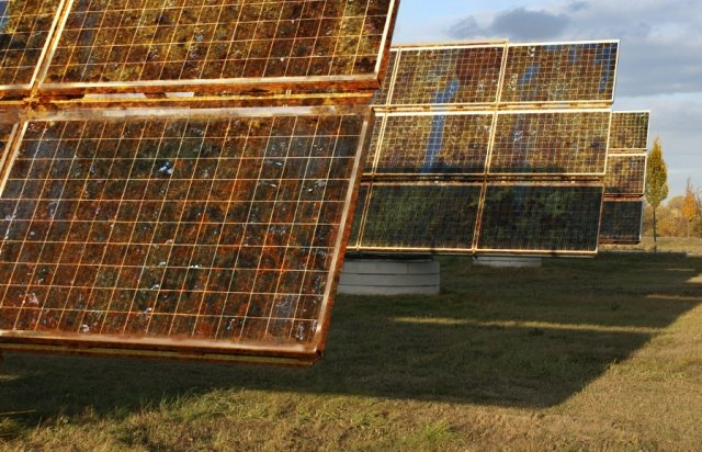 Artist's impression of solar panels manufactured from a low-cost, earth-abundant metal oxide