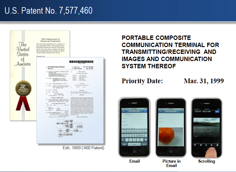 "A US patent is shown, but the ""priority date"" of 1999 refers to the date an identical patent was filed for in Korea, years before the iPhone was released."