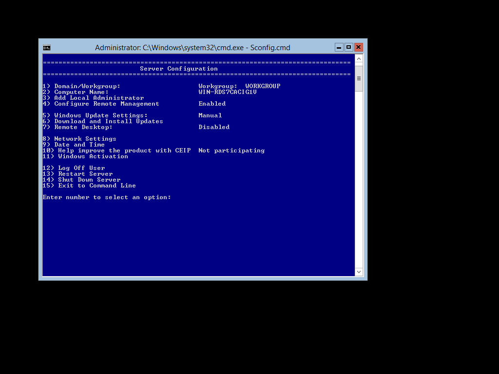 Configuring a Server Core installation of Windows Server 2012 using the Sconfig.cmd script provided in the install.