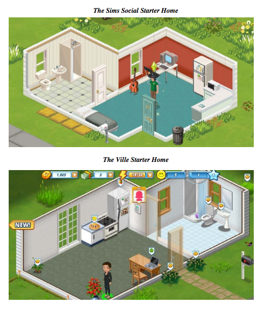 One of many images from EA's filing demonstrating the similarities between <em>The Ville</em> and <em>The Sims Social</em>.