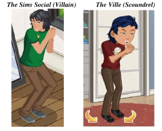 ...it's that those personality types also yield similar-looking characters. Here, a <em>The Sims Social</em> character and his doppelgänger rub their hands together nefariously.