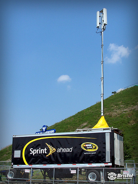 This mobile cell tower helped provide connections to fans at Bristol Motor Speedway in Tennessee in August 2008.