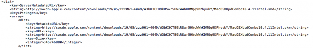 A snippet of the giant XML file that lists all Apple software updates.