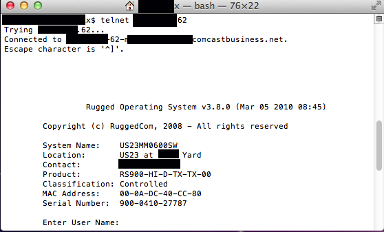 A telnet screen captured in April from an Internet-connected RuggedCom device used by a state department of transportation.
