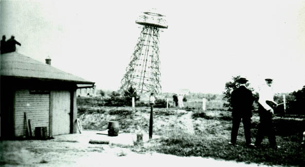 Wardenclyffe's tower, built by Tesla, mid-dismantle before it was sold for scrap in 1917.