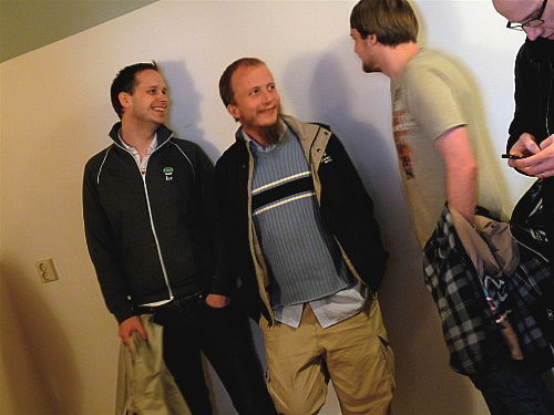 Gottfrid Svartholm Warg (center), along with Peter Sunde (left) and Fredrik Neij (second from the right), were convicted of copyright violations in 2009.