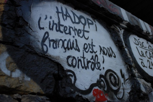 "This street art in eastern France reads: ""Hadopi: The French Internet is under control!"""