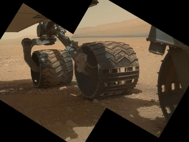 A composite image of Curiosity's wheels taken with the MAHLI camera.