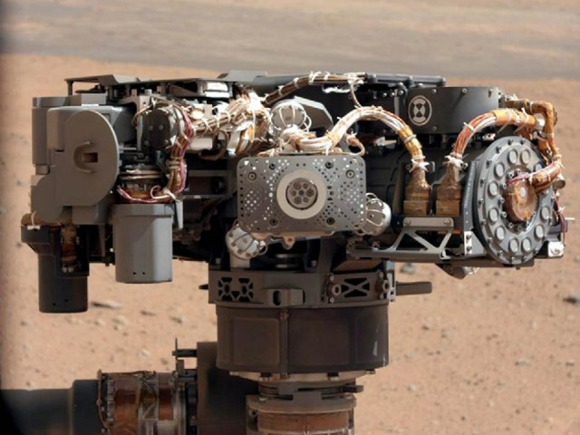 The Alpha Particle X-Ray Spectrometer (APXS), also on Curiosity's arm, can examine the chemical composition of rocks on Mars.