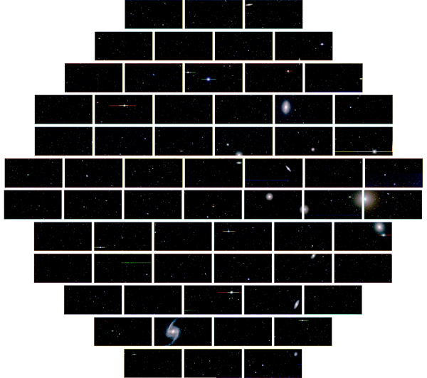 Mosaic of images from DECam. Each rectangle is a single CCD array; in total, the image contains 570 megapixels, spanning 2.2 degrees on the sky (a little over 4 times the width of the full Moon).
