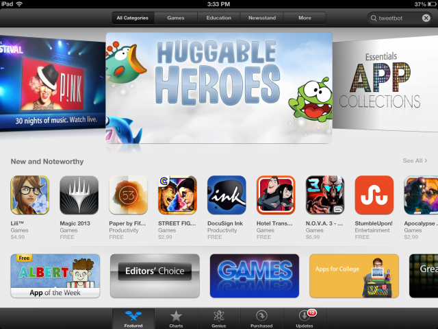 The App Store has been tweaked for iOS 6, with a more visually engaging layout.