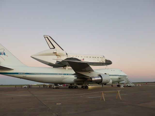 Shuttle Endeavour atop Shuttle Carrier Aircraft #1 at Ellington Field, near Houston, on 19 September 2012.