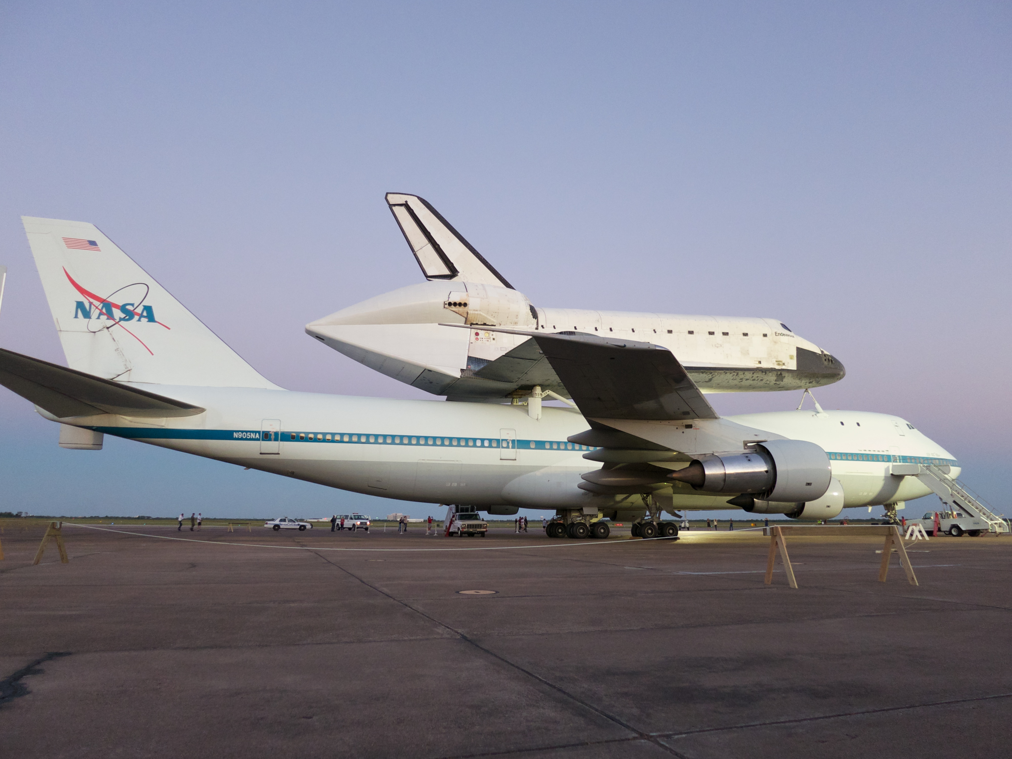 A fuller view of Endeavour and SCA #1. Partially obscured at left are the SCA's twin tails, necessary because of the turbulence created by the shuttle while airborne.