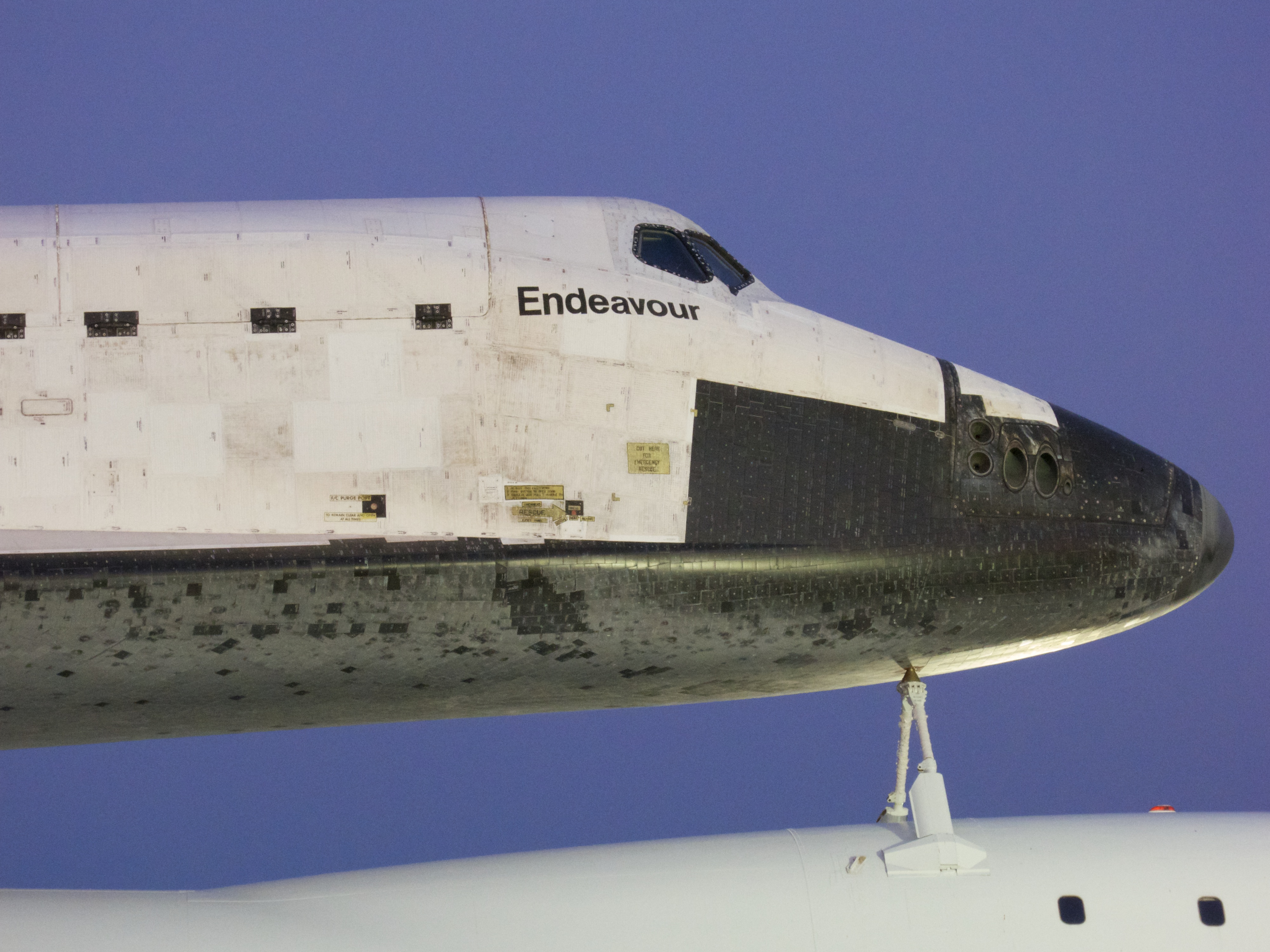 Close view of Endeavour's forward section and flight deck. At full magnification, the caution decals are readable. Each black TPS tile is individually numbered; the numbers are visible but illegible at this distance.