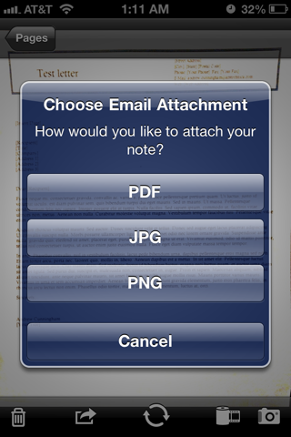 JotNot can e-mail scans in one of several file formats.