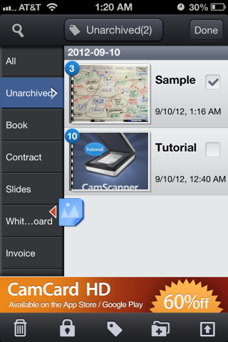 CamScanner lets you tag scans, making them easier to organize and find later.