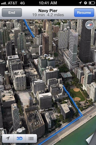 You can get driving directions in 3D view, and the lines will even flow in between the buildings.