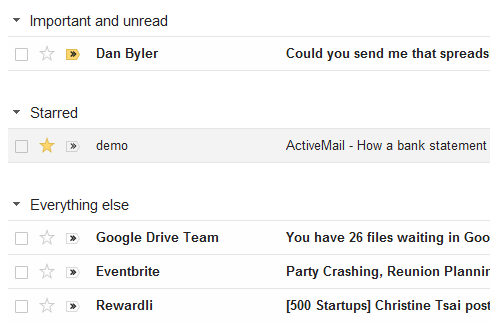 Gmail's default view for Priority Inbox.