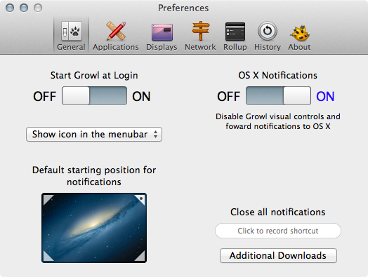 Just flick the large on/off switch to forward all Growl notifications to OS X's native Notification Center.