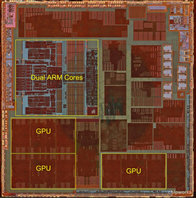 A detailed die shot of Apple's A6 mobile processor.