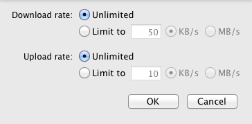 Limiting download and upload bandwidth is also possible, which is especially desirable if you're syncing between multiple clients.