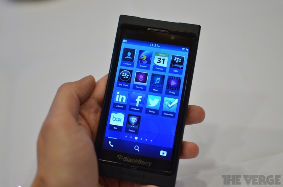 BlackBerry 10's home screen is very similar to current iOS and Android home screens.