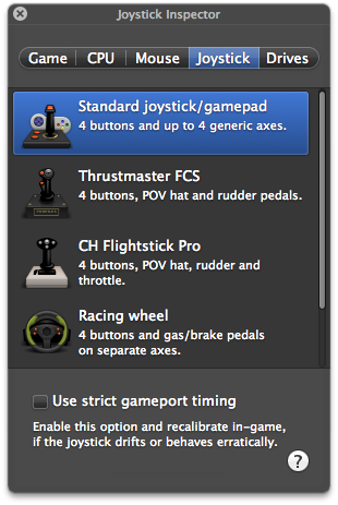 Joystick emulation options with a connected USB controller.