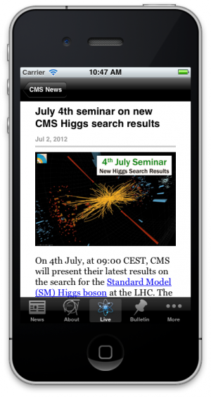 Screenshot from the CERN iPhone app.