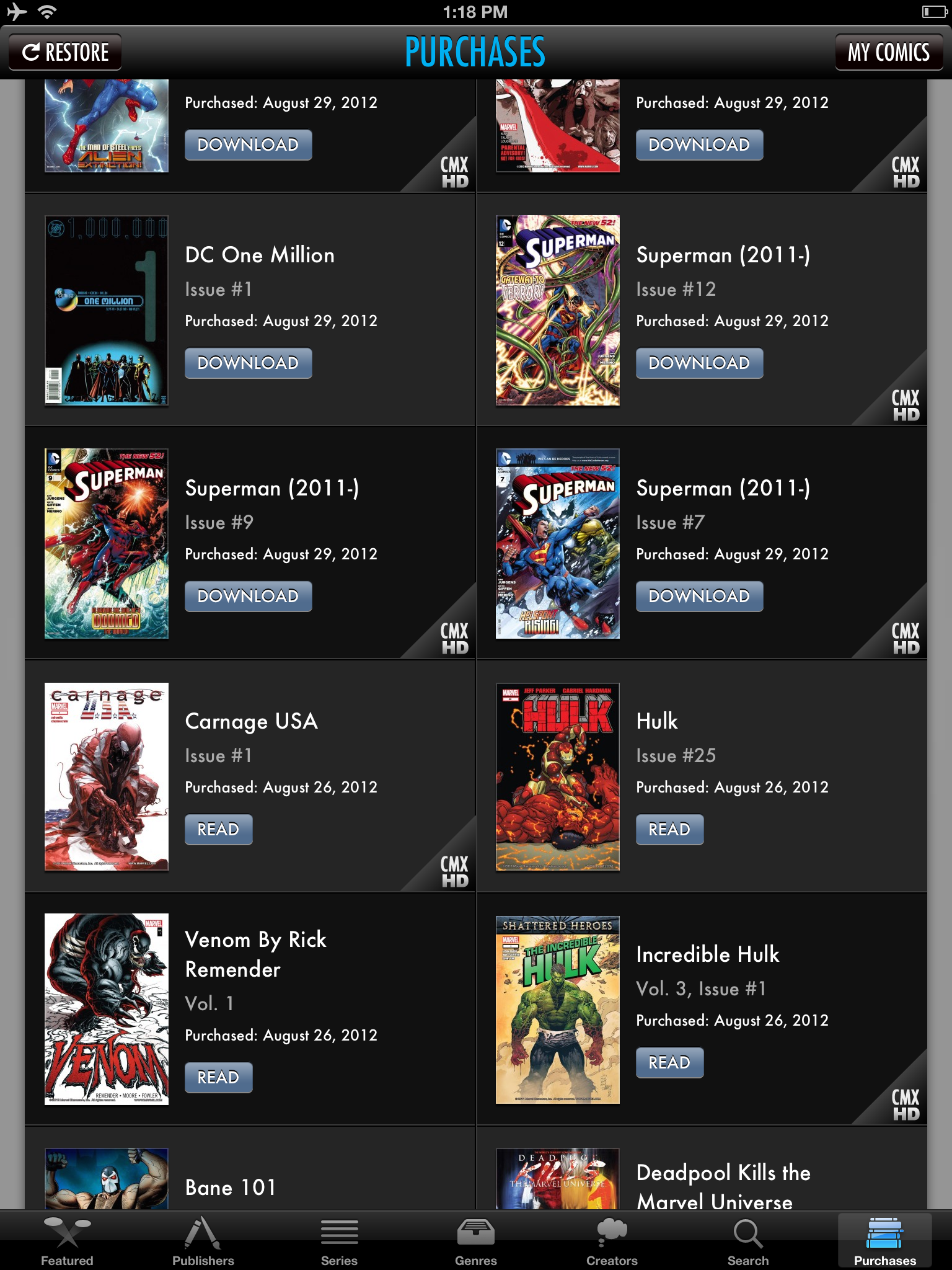 Wait, I can really view my Marvel and DC purchases all in one app? In this view you can see some of my purchases, but there's more than 60 imprints to choose from in the Comics store.