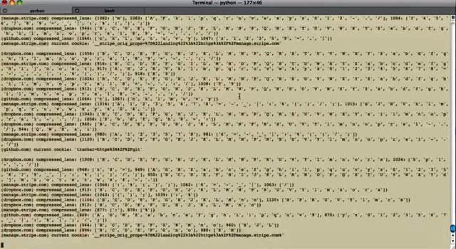 A screen shot from a video showing CRIME decrypting the contents of an encrypted cookie used to authenticate a dropbox.com user account.