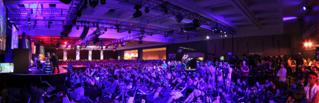 A panoramic shot of the capacity crowd at PAX's <i>League of Legends</i> finals
