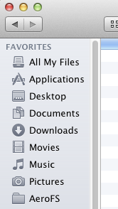 AeroFS automatically creates shortcuts in Finder and Windows Explorer.
