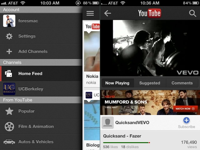 Swipe to the right to access YouTube's settings and filters (left). Videos play in a view similar to the YouTube mobile website (right).