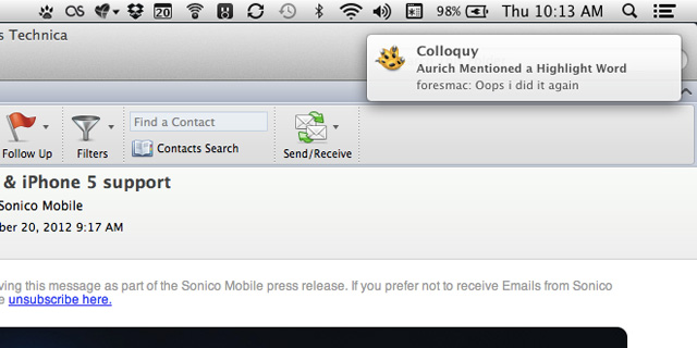 Growl 2.0 forwards notifications from Growl-compatible apps, like Colloquy, to Notification Center on Mountain Lion.