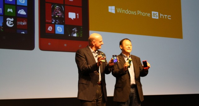 Microsoft CEO Steve Ballmer and HTC CEO Peter Chou introduce the HTC 8X and 8S.