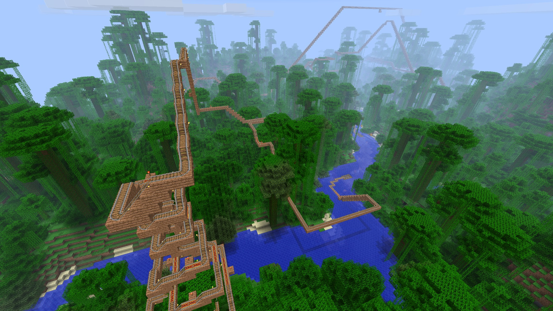 Arsian FoO's jungle coaster stretching off into the hazy distance. You could be riding something like this right now if you were faster at setting up a server.