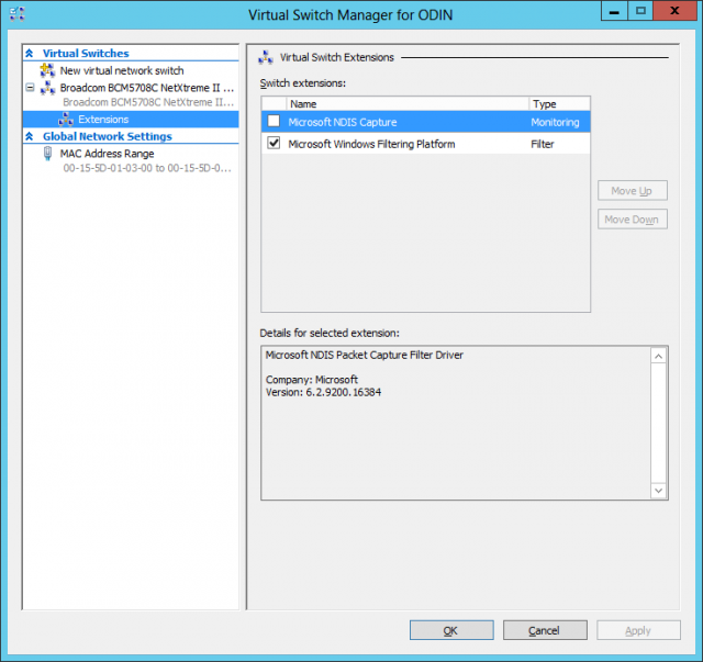 Hyper-V's Virtual Switch Manager, showing installed switch extensions. More are coming from network hardware vendors.