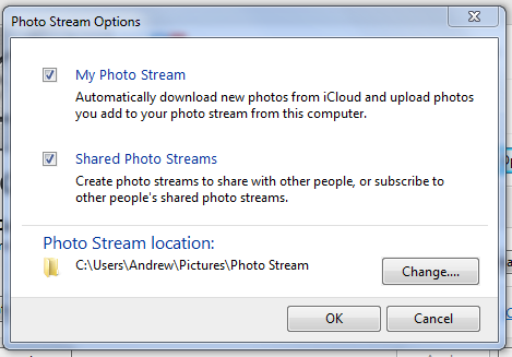Photo Streams and Shared Photo Streams can be enabled separately.